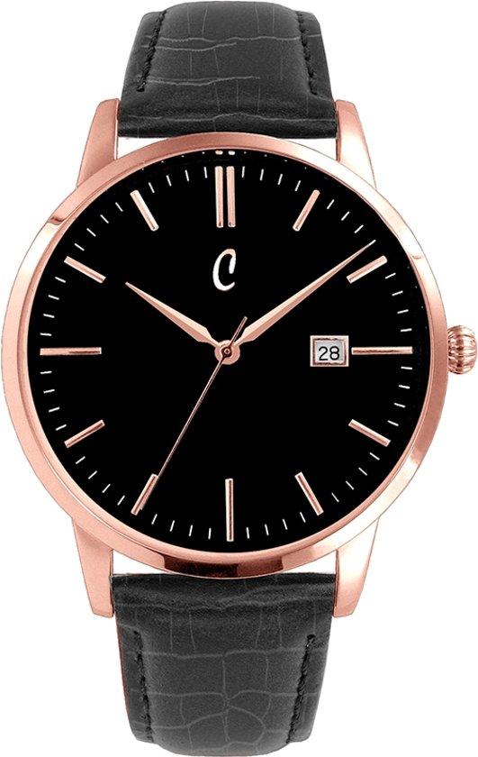 Colori Connaisseur 5 COL483 Horloge - Leren Band met Croco Print - Ø 34 mm - Zwart / Rosékleurig