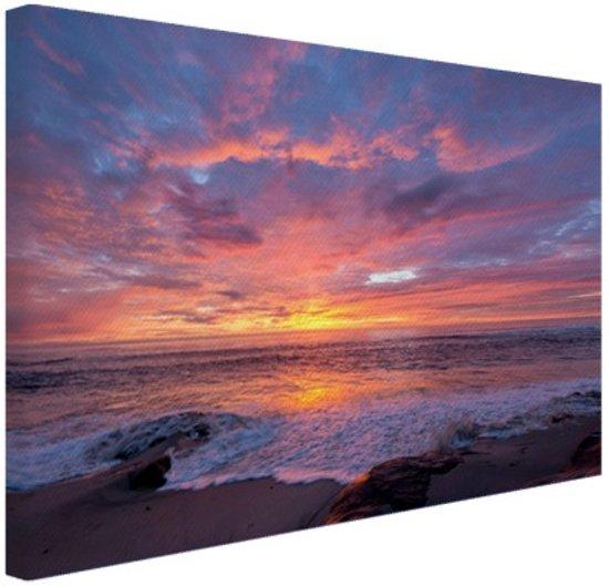 Avondlicht boven de zee Canvas 60x40 cm - Foto print op Canvas schilderij (Wanddecoratie woonkamer / slaapkamer) / Zee en Strand