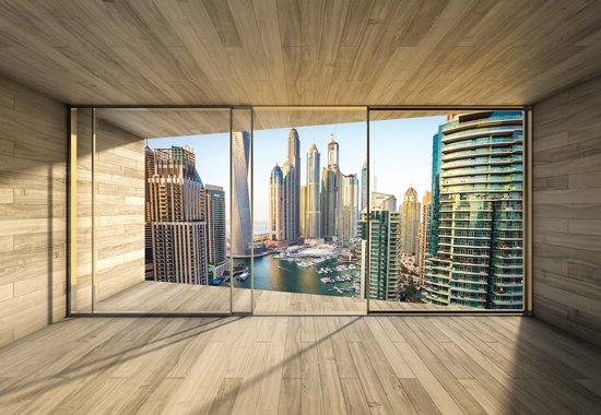 Fotobehang Window Dubai City Skyline Marina | XXL - 312cm x 219cm | 130g/m2 Vlies