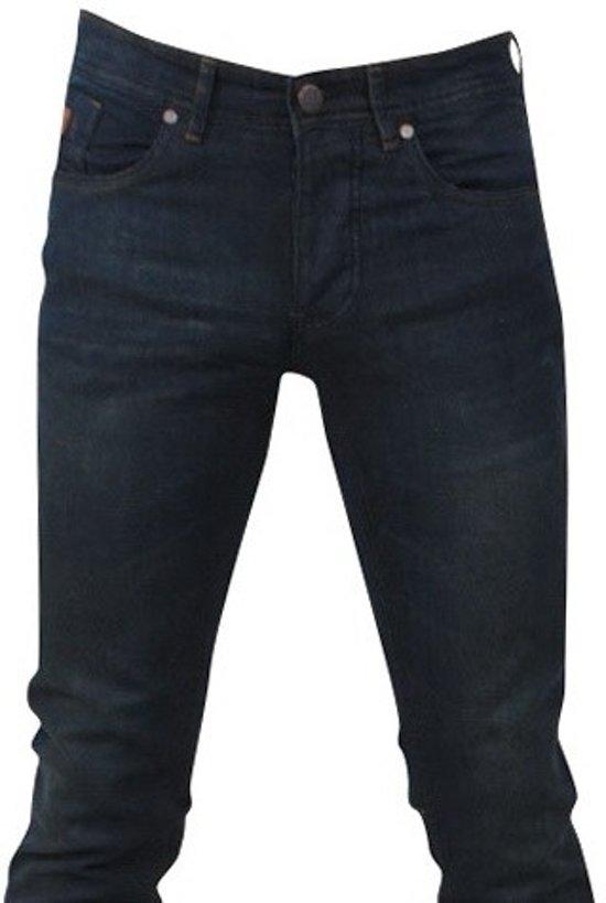 Hakkers Paris - Heren Jeans - Brown Wash - Slim Fit - Stretch - Lengte 34 - Donker Blauw
