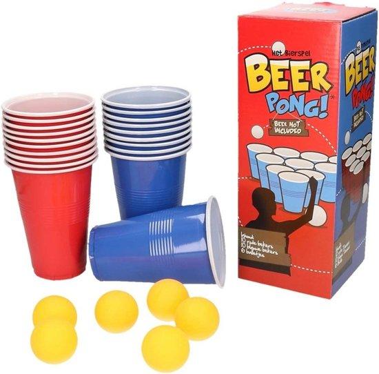 Beer Pong set met red en blue cups - 20 bekers met 6 balletjes en een handleiding