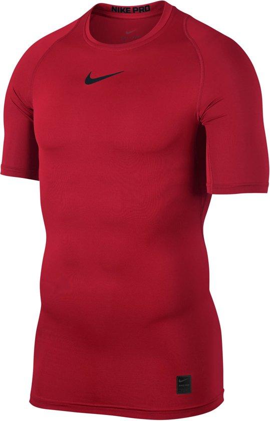 6dd9655b4d3 Nike Pro Compression shirt Heren Sportshirt performance - Maat L - Mannen -  rood/zwart