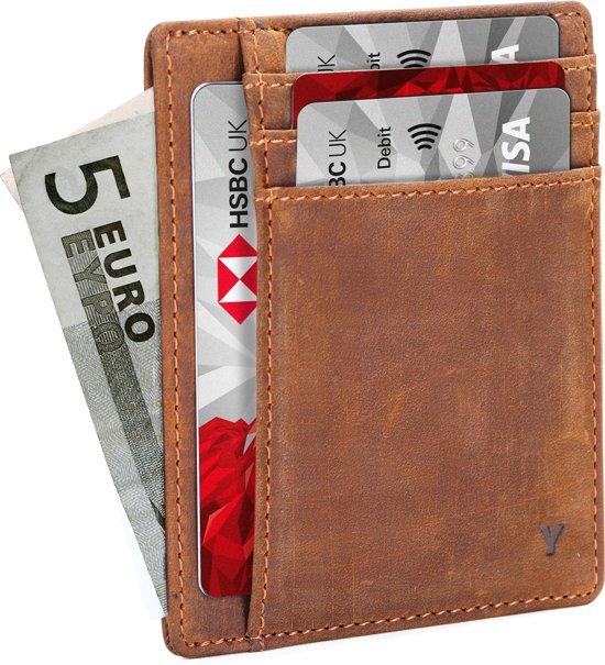 9a35bbc0e8b YONO Slim Wallet Lederen Pasjeshouder Portemonnee voor Dames en Heren –  Compacte Creditcardhouder met Anti Skim
