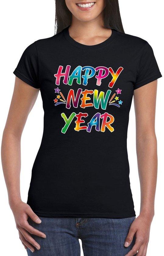 Oud en nieuw t-shirt Happy New Year zwart voor dames 2XL