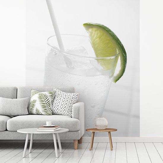 Fotobehang vinyl - Een glas gin-tonic en schijfjes limoen breedte 210 cm x hoogte 260 cm - Foto print op behang (in 7 formaten beschikbaar)