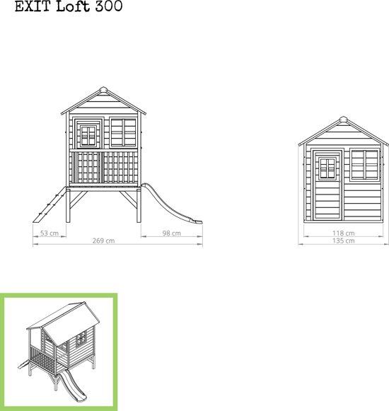 EXIT Loft 300 Speelhuisje met glijbaan laag
