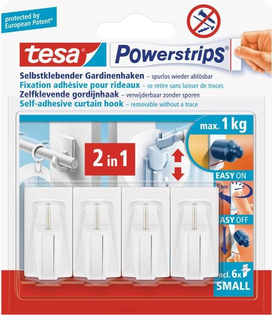 Bolcom Tesa Powerstrips Gordijnhaken Wit 4 Haken 6 Strips