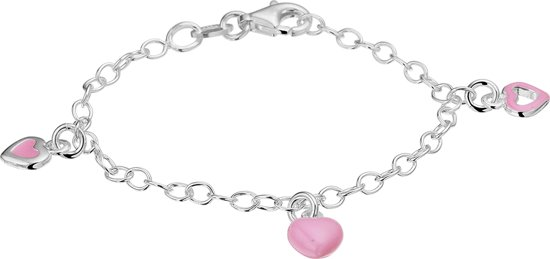 The Jewelry Collection armband - Hart - Zilver - Roze - lengte 13 cm