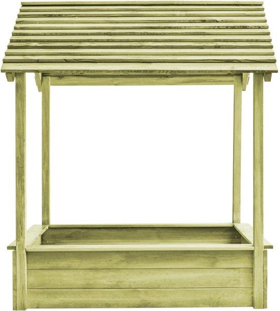 vidaXL Buitenspeelhuis met zandbak 128x120x145 cm FSC grenenhout