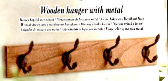 Bolcom Houten Kapstok Met Metalen Haken Kleur Wit