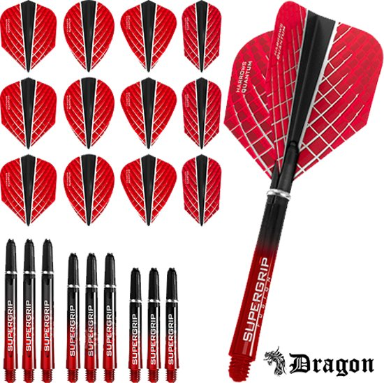 Dragon Darts – Harrows - Combi kit – Quantum-X – 3 sets darts shafts – 4 sets darts flights - Rood