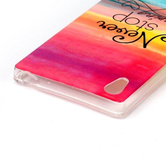 Hoesje geschikt voor Sony Xperia Z5, gel case met print, never stop dreaming