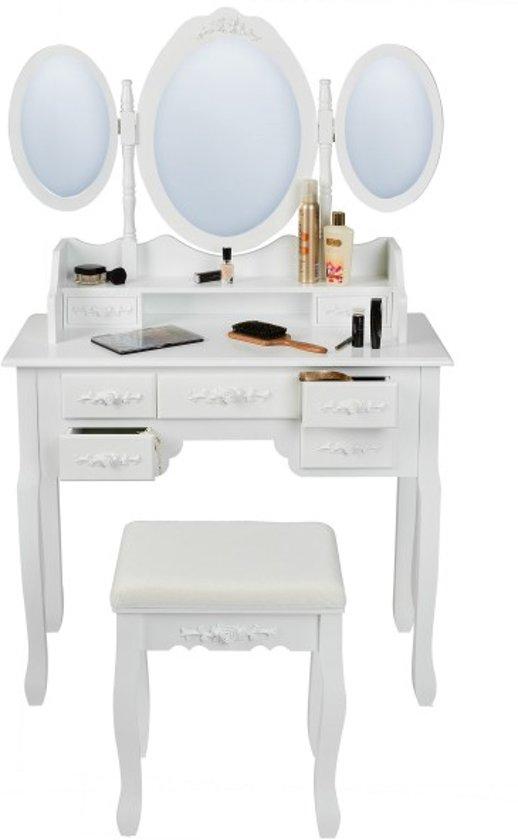 Wonderbaar bol.com | TecTake Kaptafel met spiegel en krukje - Wit - Hout EK-52