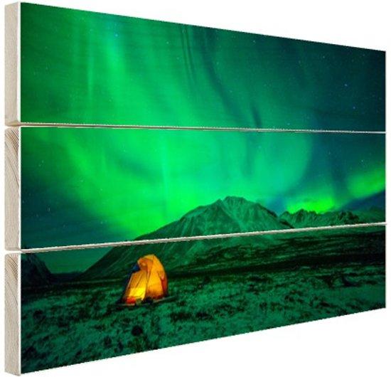 FotoCadeau.nl - Kamperen onder het noorderlicht Hout 60x40 cm - Foto print op Hout (Wanddecoratie)
