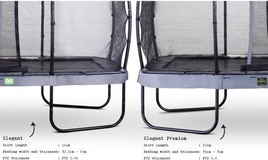 EXIT Elegant Premium trampoline 214x366cm met veiligheidsnet Deluxe - grijs