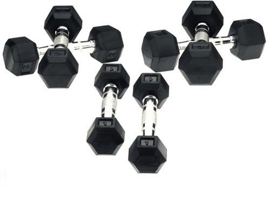 Hexa Dumbells - 2 x 1 kg - Zilver/Zwart