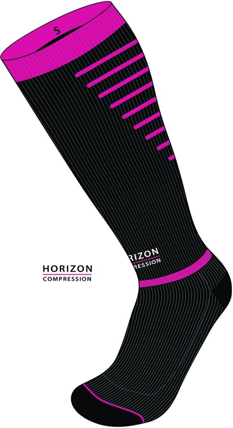 Horizon Sport compressiekousen zwart/cerise Medium (39-42) Kuit:35-44cm