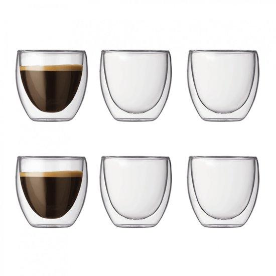 Bodum Pavina Dubbelwandig Espresso Glas - 80 ml - 6 stuks