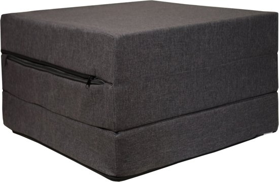 Logeermatras - donker grijs - camping matras - reismatras - opvouwbaar matras - 195 x 65 x 10