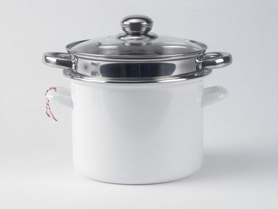 pasta- soeppan 3-delig Ø 22 cm met roestvrijstalen inzet en glasdeksel wit