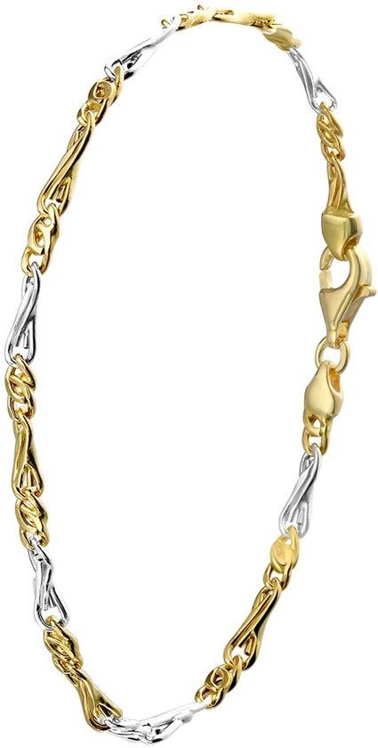 Lucardi Gouden Armband - 14 Karaat - Bicolor Schakel - 21 cm