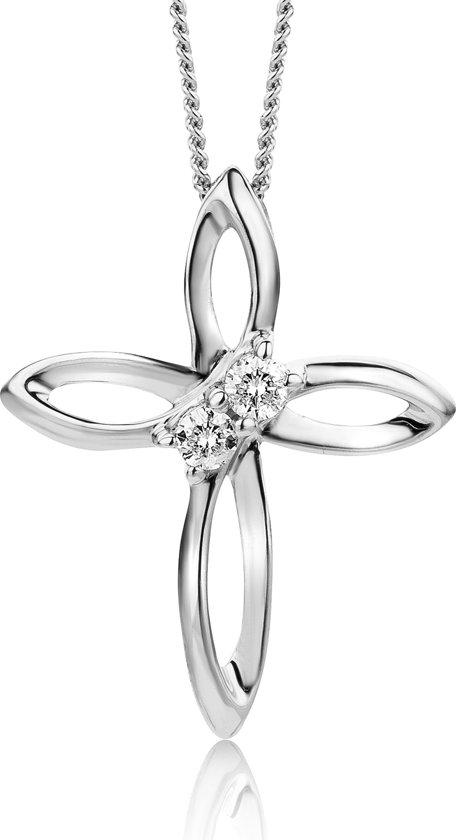 Majestine 9 Karaat (375) Collier Witgoudkleurig met Diamant 0.05ct - Ketting 45 cm