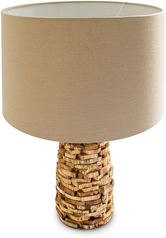 Relaxdays lamp uniek design tafellamp hout for Design lamp hout