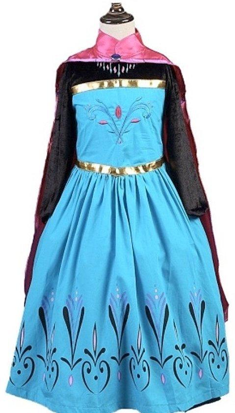 Elsa jurk Kroning 120 met roze cape + GRATIS Ketting - maat 104-110 Prinsessen jurk verkleedkleding