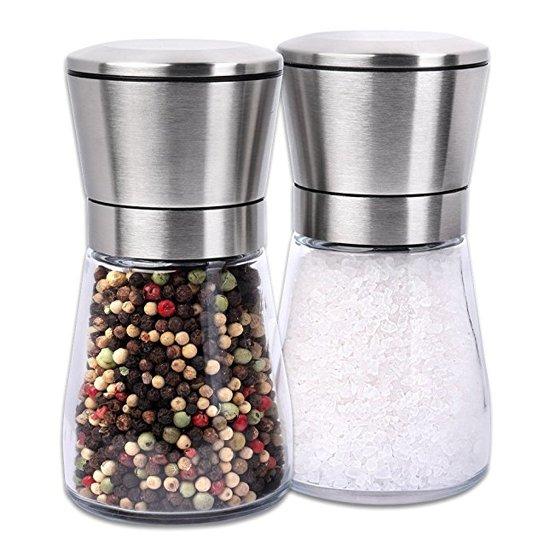 peper en zoutmolen set rvs en glas Valentinaa