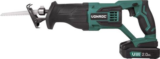 VONROC Accu Reciprozaag VPower 20V – complete set met accu, sneloplader, zaagbladen en opbergtas