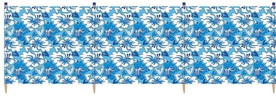 Yello Windscherm Hibiscus 5 Palen 120 X 392 Cm Blauw/wit