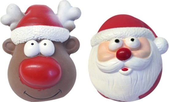 Latex Festive Duo Kerstman En Rendier Speelgoed 10 cm