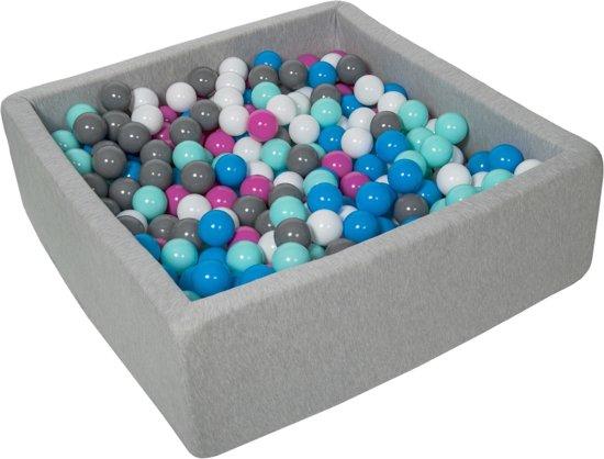 Zachte Jersey baby kinderen Ballenbak met 450 ballen, 90x90 cm - wit, blauw, roze, grijs, turkoois