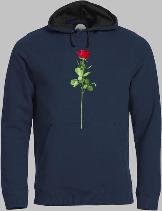 Hoodie M Valentijnsdag met een rode roos van liefde op je shirt - Darknavy - M - XXXL Sporttrui