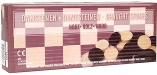 Damstenen - Dam Stenen - Damschijven - Damstenen Zwart / Wit 34 mm