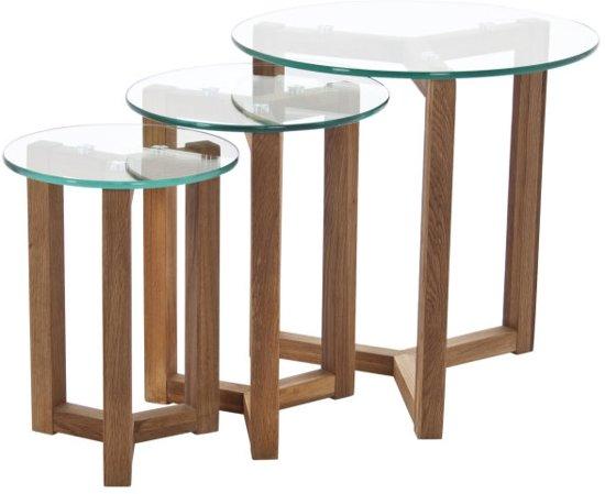 Salontafel Met Hout En Glas.Fyn Oryx Set Van 3 Salontafels Diameter 50 Cm Glas Hout