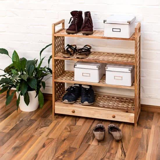 Schoenenkast Ook Voor Laarzen.Bol Com Relaxdays Schoenenrek Met Lade Hout 4 Etages