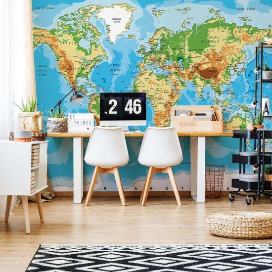 Fotobehang World Map Atlas | VEXXL - 312cm x 219cm | 130gr/m2 Vlies