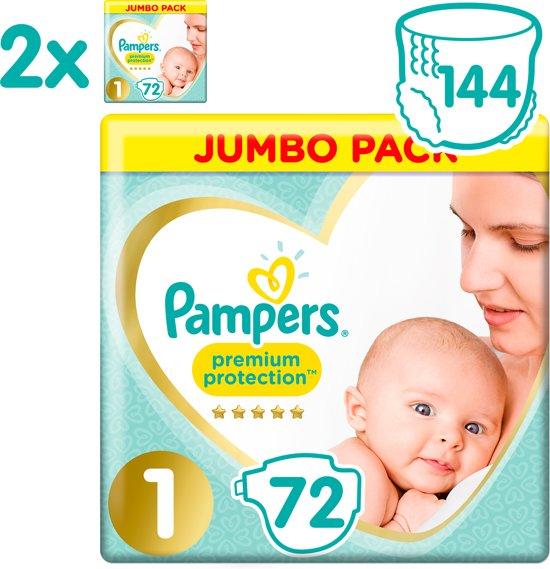 Pampers Premium Protection Luiers - Maat 1 (New Born) 2kg-5kg - 144 Stuks