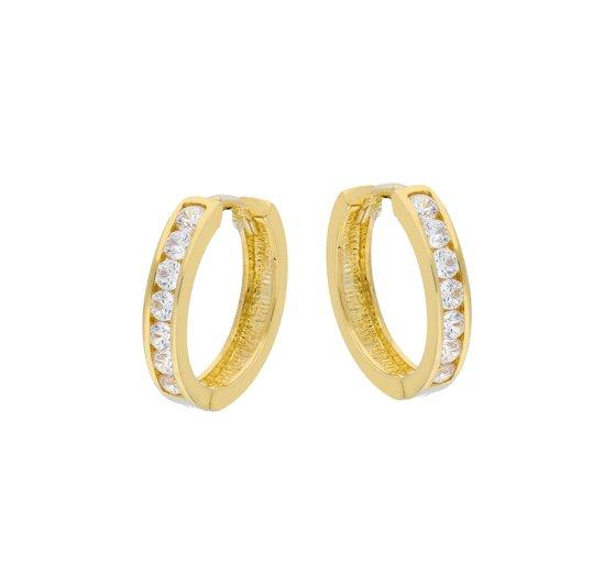 Glow oorringen - geelgoud - scharnier - zirkonia - 15x2 mm