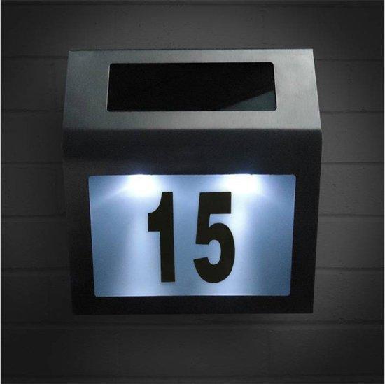 rvs huisnummer verlichting solar led huisnummerbord zonne energie 1234