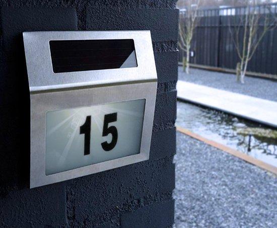 bol.com | RVS Huisnummer Verlichting Solar - LED Huisnummerbord ...