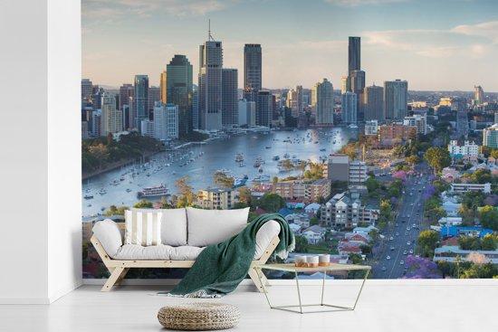 Fotobehang vinyl - Luchtfoto van Brisbane over Kangaroo Point in Australië breedte 330 cm x hoogte 220 cm - Foto print op behang (in 7 formaten beschikbaar)