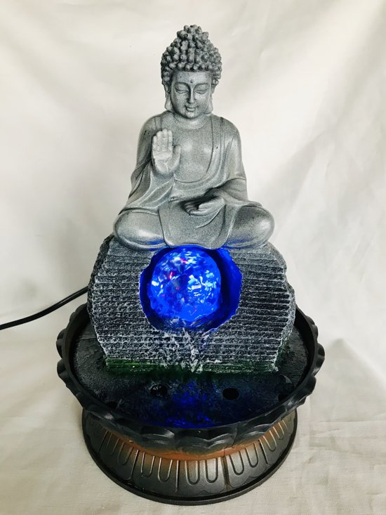Boeddhabeeld Met Fontein.Zen Boeddha Fontein Decoratieve Fontein Kamerfontein Buddha Fountain Indoor Fountain 28x15x15cm Met Waterpomp Adapter Led Lamp Polyester Glas
