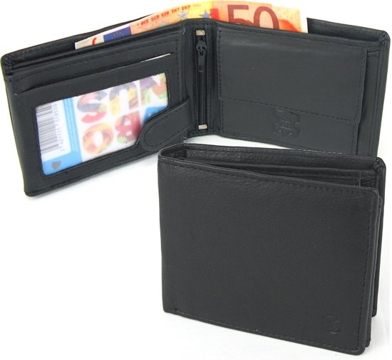 15ac41cabc3 Businessme Portemonnee Heren - Kleine Billfold - Zwart - Leer - RFID - 8  pasjes