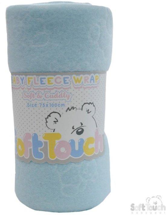 fleece deken blauw met embroidery beertje
