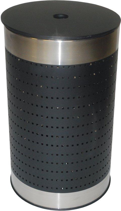 Ronde Design Wasmand.Metalen Ronde Geperforeerde Wasmand Zwart Met Zwart Houten Deksel