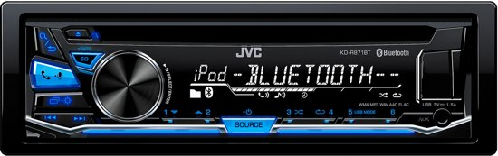 JVC KD-R871BT - Autoradio enkel DIN - USB - CD - Bluetooth - Blauw