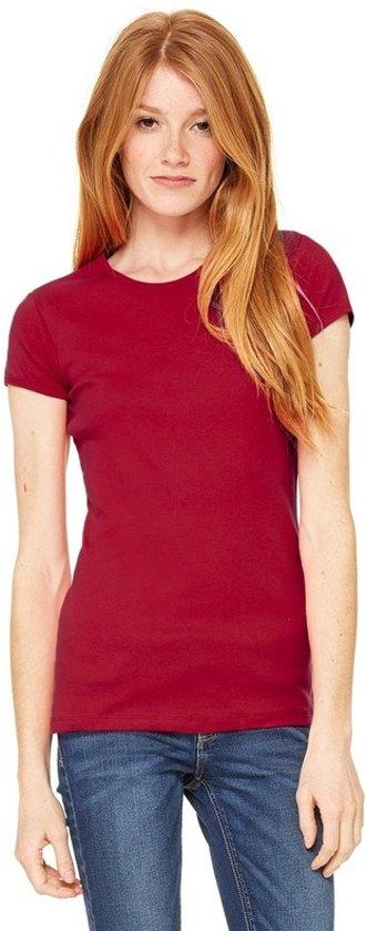 Basic t-shirt donkerrood met ronde hals voor dames - Dameskleding shirtjes XL