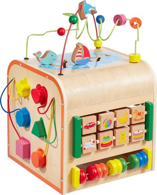 Afbeelding van howa Houten Motoriek Activiteiten Kubus Little World groot 6001 speelgoed